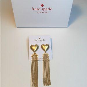 Kate spade gold heart fringe earrings. NWT! 💕